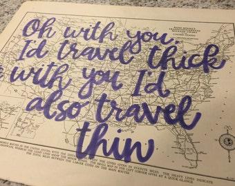 "Phish ""my sweet one"" lyrics handprinted on US automobile routes map"