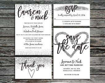 Silver Confetti Wedding Invitation Template Bundle