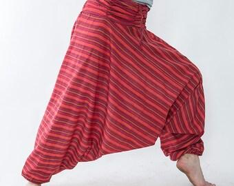 Harem pants striped claret red unisex,