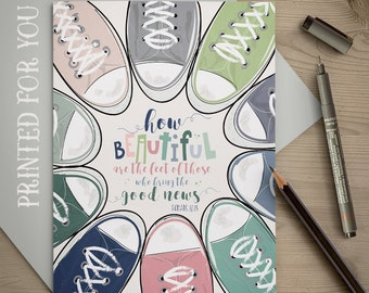 Converse Shoes Art Card, Christian Card, Christian Art, Romans 10:15, Sneakers, Thank You Card, Printed