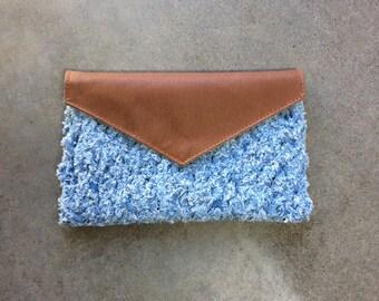 Denim Knit and Tan Clutch