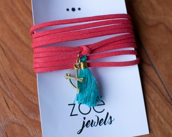 Coral Suede Wrap Bracelet with Tassel and Bow Charm