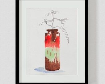 Lava Vase with flowers 3_ A4 or A3 Print, Still Life Pen & Watercolour Painting