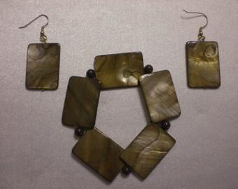 Handmade Pierced Shell Earrings and Matching Stretch Bracelet