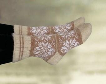 Knitted winter socks, Knit womens socks, Wool merino socks, Women's wool socks, Winter knit socks, Beige knitted socks, Warm wool socks