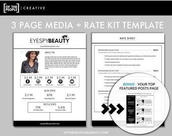 3 Page Media Kit Template | Press Kit For Bloggers U0026 Influencers | Rate  Sheet