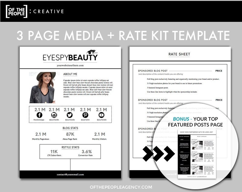 3-Page Media Kit Template | Press Kit For Bloggers & Influencers