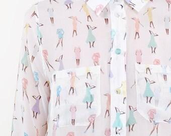 Shirt 100% silk printed the dolls