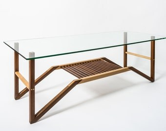 Glass Top Walnut and Maple coffee table