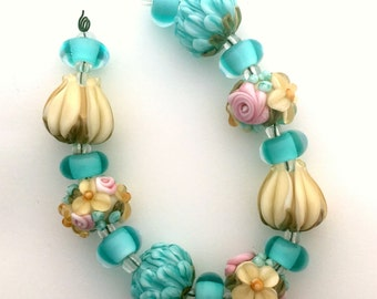 BLISS English Garden Rose Floral Abundance Handmade Lampwork Bead Mix with tulips and peonies