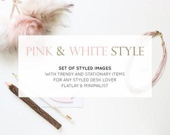 Set of 5 Styled Stock Photos | Desk Flatlay Pink and White Minimal | Photography Digital Image