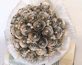 Bridal bouquet / wedding / paper bouquet / paper flowers / beads / wedding bouquet / registry / rose / paper rose / Pearl