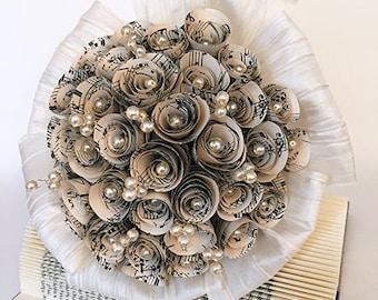 Bridal bouquet / wedding / paper bouquet / paper flowers / beads / wedding bouquet / registry / rose / paper rose / Pearl