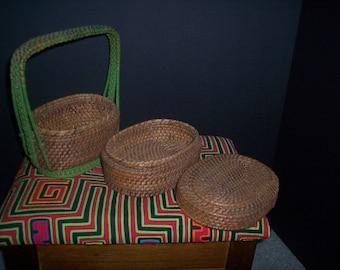 Vintage basket sewing trinket painted