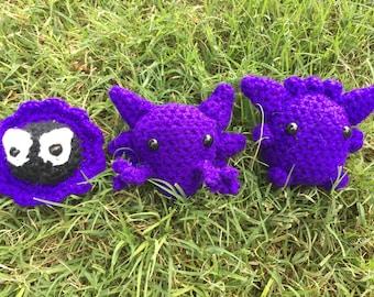 Set of 3 Gastly Haunter Gengar amigurumi pokemon go crochet stuffed animal plush plushie chibi ghastly