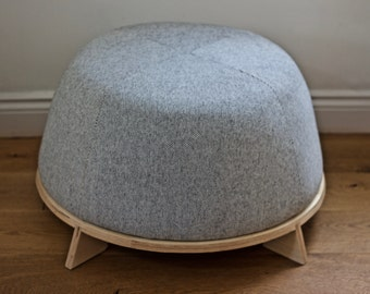 Footstool, Ottoman in Wood and Wool