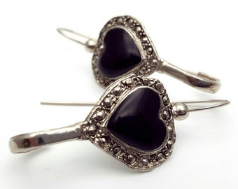 Silver and Black Heart Earrings Vintage from the 90s Grunge