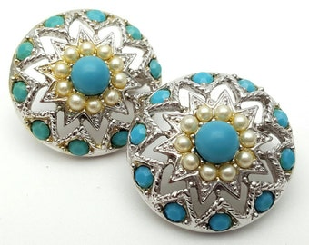 Sarah Coventry Round Clip on Earrings Retro Vintage clip-on Star Studs Turquoise Pearls Silver