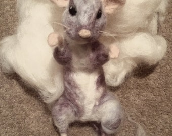 Grey Mouse Needle Felt