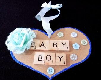 Baby Boy Handmade Scrabble Heart