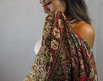 Dreamer--Vintage 70s Cotton Gauze Boho Hippie, Hipster, Gypsy, Festival Skirt/ Dress, Bold Beautiful Colors   N1