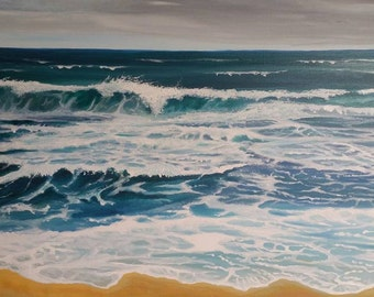 Original Contemporary Fine Art Seascape Painting, Acrylic on Canvas, titled 'Redemption'