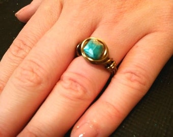 Turquoise and Stone Natural Square Stone Wire Wrapped Ring