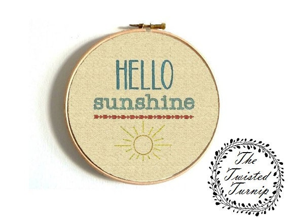 Machine Embroidery Design HELLO Sunshine Wall Art Original Digital File Instant Download 4x4 Hoop Finished Design Fits 6 Inch Round Frame