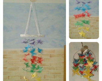 Bright Rainbow Butterfly Chandelier Mobile - baby/child/nursery/bedroom/baby shower/christening
