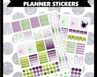 Spiders Halloween Creepy Printable Planner Stickers ECLP Life Planner