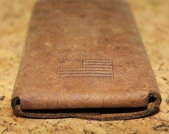 simple leather wallet - flag back