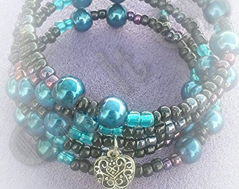 Teal and black heart charm wrap bracelet - gifts - gifts for her - bracelets - heart - charm - heart charm - wrap bracelet - beaded bracelet