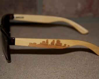 "Minneapolis Skyline ""Dinkytown-Brown"" Polarized Wayfarer Sunglasses"