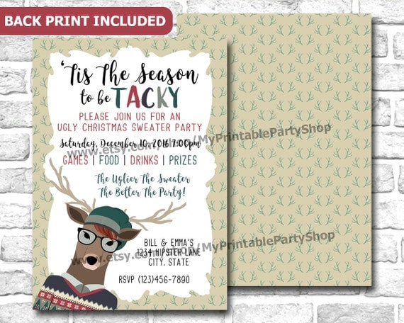 Hipster Tacky Christmas Sweater Party Invitation