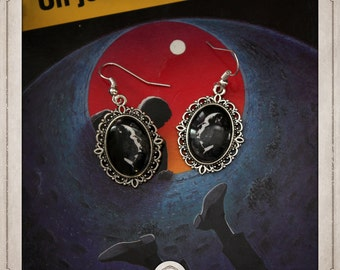 HITCHCOCK silver cabochons earrings oval 13x18mm portraits Alfred Hitchcock BOCA008