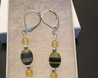 Blue& Yelliw Glass Bead Earings