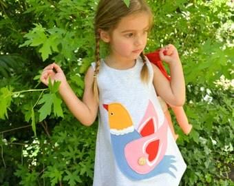 Bird dress,Toddler dress,Tweety dress,Girl's dress ,Gray Melange dress, All year time dress,Dress with applique bird