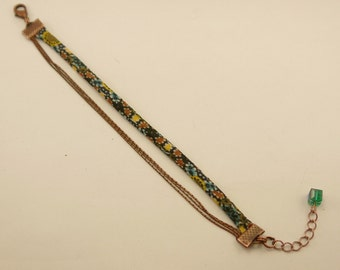 Bracelet turquoise, rust and mustard and triple Liberty copper chains, Pearl square glass