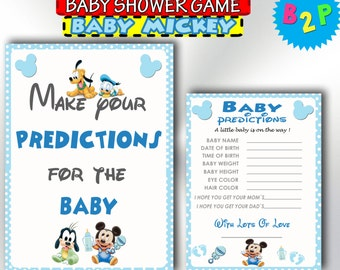 Baby Shower Mickey Mouse Prediction Cards, Printable Baby Shower Predictions For Baby, Baby Mickey Predictions, Instant Download - bm1