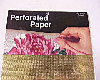 """Perforated Paper-Pack of Two Metallic Gold 9"""" x 12"""" Sheets"""