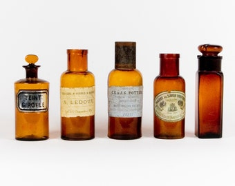 French Amber Glass Apothecary Bottles