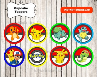 Pokemon toppers instant download , Pokemon cupcakes toppers labels, Printable Pokemon party toppers