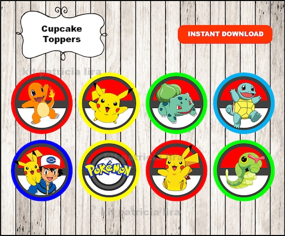 Pokemon toppers instant download Pokemon cupcakes toppers