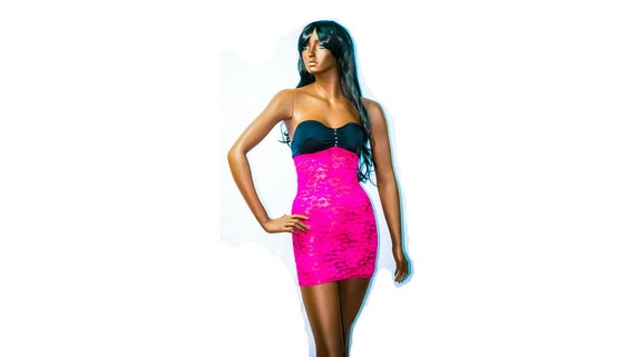 New Exotic Dancewear Stripper Rose pink/Black  Short Lace Dress