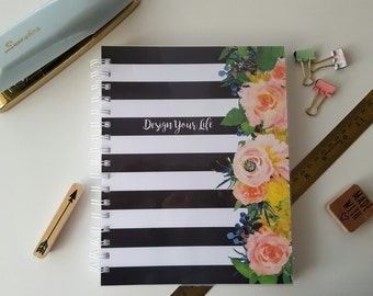 12 Month Weekly Planner * Personalized Planner * Choose Start Month * Student Planner * Professional Planner * Black and White Stripes