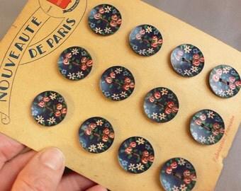 12 Vintage Buttons French Nouveaute de Paris Unused painted flowers on original card // dark navy