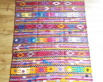 Turkish Kilim Rug - Embroidered Rug - Antalya Rug - 1960s