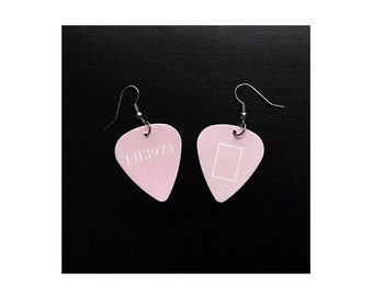 T H E 1 9 7 5 // The 1975 inspired guitar pick earrings (version: pink era) []
