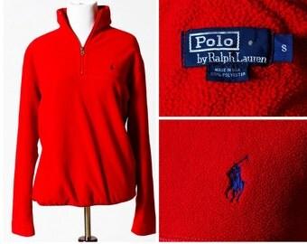 Women's Polo Fleece Jacket - 90's Ralph Lauren Made in USA S Small