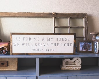 """8"""" x 24"""" As For Me and My House - Joshua 24:15 - Framed Wood Sign"""